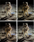 """Explorers:Space Exploration, Buzz Aldrin Signed Large Apollo 11 Lunar Surface """"Visor"""" Color Photos (Four) Originally from His Personal Collection. ... (Total: 4 Items)"""
