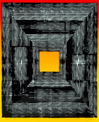 Revok (b. 1977) Hollow Loop 1, 2018 Serigraph with fluorescent split fountain in colors on Mohawk Su