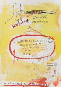 After Jean-Michel Basquiat Supercomb. exhibition poster, 1988 Offset lithograph in colors on smooth