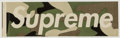 Other:Contemporary, Supreme . Green Camo Sticker, c. 1995. Screenprint in colors with adhesive. 2 x 8 inches (5.1 x 20.3 cm) (sheet). Publis...