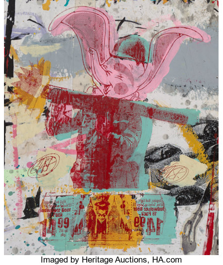 Bäst (20th century) Untitled, n.d. Acrylic and screenprint on paper 24 x 20-1/2 inches (61 x 52.1 cm) Signed verso: ...