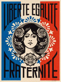Fine Art - Work on Paper:Print, Shepard Fairey (b. 1970). Liberté, Égalité, Fraternité, 2016. Screenprint in colors on speckled cream paper. 24 x 18 inc...