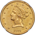 Liberty Eagles, 1839 $10 Small Letters, Head of 1840, AU55 NGC....
