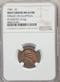 Errors, 1941 1C Lincoln Cent -- Struck on Elliptical Planchet -- MS64 Red and Brown NGC. 2.6 grams....