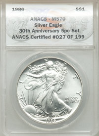 1986 $1 Silver Eagle, 30th Anniversary, MS70 ANACS. This lot will also include a: 1986-S $1 Silver Eagle, 30th Anniver...
