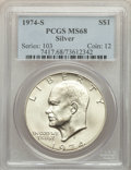 Eisenhower Dollars, 1974-S $1 Silver MS68 PCGS. PCGS Population: (1322/3). NGC Census: (248/2). CDN: $60 Whsle. Bid for problem-free NGC/PCGS M...