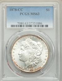1878-CC $1 MS63 PCGS. PCGS Population: (10420/10062). NGC Census: (6516/6311). CDN: $360 Whsle. Bid for problem-free NGC...