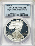 2006-W $1 Silver Eagle, 20th Anniversary, PR70 Deep Cameo PCGS. PCGS Population: (1532). NGC Census: (13495). ...(PCGS#...
