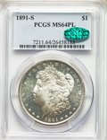 Morgan Dollars: , 1891-S $1 MS64 Prooflike PCGS. CAC. PCGS Population: (115/43). NGC Census: (114/18). CDN: $385 Whsle. Bid for problem-free ...