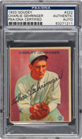 Autographs:Sports Cards, Signed 1933 Goudey Charley Gehringer #222 PSA/DNA Authentic....