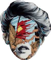 Sandra Chevrier (b. 1983) La Cage & la fragilité de le vie, 2015 Acrylic on hand carved wood panel