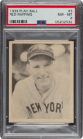 Baseball Cards:Singles (1930-1939), 1939 Play Ball Red Ruffing (All Caps) #3 PSA NM-MT 8 - Only One Higher. ...