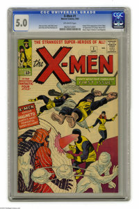 X-Men #1 (Marvel, 1963) CGC VG/FN 5.0 Off-white pages. Origin and first appearance of the X-Men (the Angel, the Beast, C...