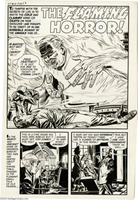 """Joe Certa - Witches Tales #10 Complete 6-page Story """"The Flaming Horror!"""" Original Art (Harvey, 1953). To tamp..."""