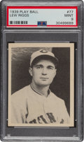 Baseball Cards:Singles (1930-1939), 1939 Play Ball Lew Riggs (All Caps) #77 PSA Mint 9 - Pop Three, None Higher. ...