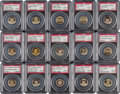 Baseball Cards:Lots, 1910-12 P2 Sweet Caporal Pins PSA NM-MT 8 Collection (15) With FoFers....