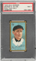 Baseball Cards:Singles (Pre-1930), 1911 T205 Gold Border George Wiltse (Right Ear Only) PSA NM 7 - Pop Four, None Higher. ...