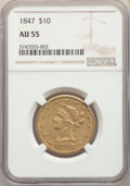 Liberty Eagles: , 1847 $10 AU55 NGC. NGC Census: (324/264). PCGS Population: (63/75). AU55. Mintage 862,258. ...