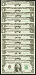 "Complete District Set Ending in ""65"" Fr. 1905-A $1 1969B Federal Reserve Note. Choice Crisp Uncirculated..."