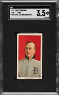 Baseball Cards:Singles (Pre-1930), 1909-11 T206 Sweet Caporal 350-460 Ty Cobb (Portrait-Red) SGC VG+ 3.5 - Factory 42. ...