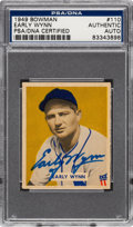 Autographs:Sports Cards, Signed 1949 Bowman Early Wynn #110 PSA/DNA Authentic....