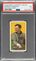Baseball Cards:Singles (Pre-1930), 1909-11 T206 Sweet Caporal 350/30 Mordecai Brown PSA EX 5....