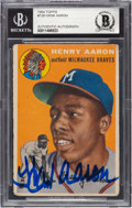 Autographs:Sports Cards, Signed 1954 Topps Hank Aaron #128 Beckett Authentic.
