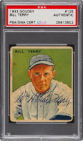 Autographs:Sports Cards, Signed 1933 Goudey Bill Terry #125 PSA/DNA Authentic....