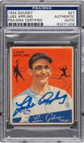 Autographs:Sports Cards, Signed 1934 Goudey Luke Appling #27 PSA/DNA Authentic....