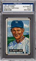 Autographs:Sports Cards, Signed 1951 Bowman Whitey Ford #1 PSA/DNA Authentic....