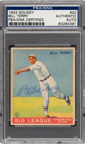 Autographs:Sports Cards, Signed 1933 Goudey Bill Terry #20 PSA/DNA Authentic....