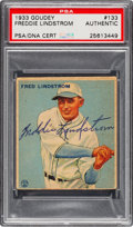 Autographs:Sports Cards, Signed 1933 Goudey Fred Lindstrom #133 PSA/DNA Authentic....