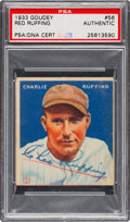 "Autographs:Sports Cards, Signed 1933 Goudey Charlie ""Red"" Ruffing #56 PSA/DNA Authentic...."