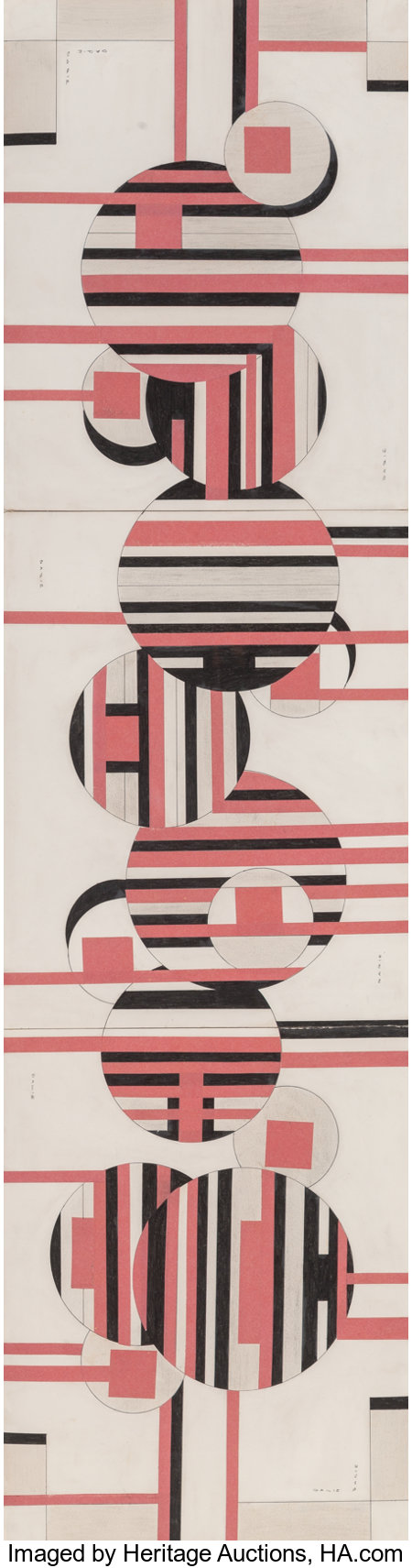 Sandu Darie (1908-1991) Untitled Ink and pencil with collage on paper laid on board 41-1/4 x 11 inches (104.8 x 27.9 ...