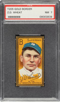 Baseball Cards:Singles (Pre-1930), 1911 T205 Gold Border Zack Wheat PSA NM 7 - Only One Higher. ...