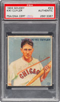 Autographs:Sports Cards, Signed 1933 Goudey Ki Ki Cuyler #23 PSA/DNA Authentic....
