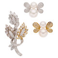 Estate Jewelry:Brooches - Pins, Diamond, Colored Diamond, Cultured Pearl, Gold Brooches. ... (Total: 3 Items)