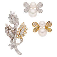Diamond, Colored Diamond, Cultured Pearl, Gold Brooches ... (Total: 3 Items)
