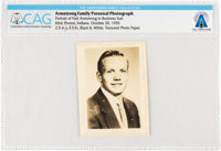 Armstrong Family Photo: Black & White Portrait Photo of Neil Armstrong in a Business Suit, 1955 Directly From Th...