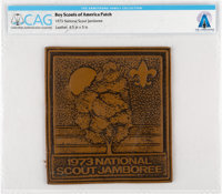 Boy Scouts: 1973 National Scout Jamboree Leather Patch Directly From The Armstrong Family Collection™, CAG Certified