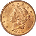 Liberty Double Eagles, 1875 $20 MS62+ PCGS. CAC....