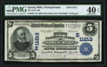 National Bank Notes:Pennsylvania, Spring Mills, PA - $5 1902 Plain Back Fr. 606 The First National Bank Ch. # (E)11213 PMG Extremely Fine 40 EPQ.. ...