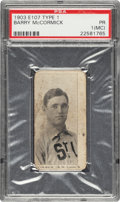 Baseball Cards:Singles (Pre-1930), 1903 E107 Breisch Williams Barry McCormick (Ad Back) PSA Poor 1 (MC) - The Only PSA Graded Example! ...