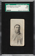 Baseball Cards:Singles (Pre-1930), 1903 E107 Breisch Williams Fred Mitchell (Ad Back) SGC 30 Good 2. ...