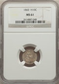 Seated Half Dimes: , 1860 H10C MS61 NGC. NGC Census: (19/430). PCGS Population: (12/475). MS61. Mintage 799,000. ...