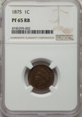 1875 1C PR65 Red and Brown NGC. NGC Census: (40/7). PCGS Population: (43/14). CDN: $1,250 Whsle. Bid for problem-free NG...