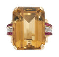 Estate Jewelry:Rings, Retro Citrine, Diamond, Synthetic Ruby, Gold Ring . ...