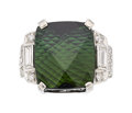 Estate Jewelry:Rings, Tourmaline, Diamond, White Gold Ring. ...