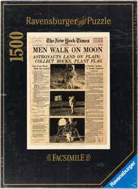 """1969 New York Times """"Men Walk On Moon"""" Ravensburger Jigsaw Puzzle Directly From The Armstrong Family Collectio..."""