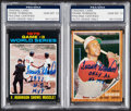 Autographs:Sports Cards, Signed 1962 & 1971 Topps Frank Robinson Card Lot of 2, PSA/DNA Gem Mint 10....